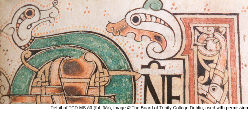Detail of TCD MS 50 (fol. 35r), image © The Board of Trinity College Dublin, used with permission.
